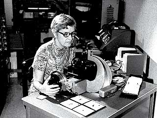 Vera Rubin, American astronomer who established the presence of dark matter in galaxies, measures spectra in the 1970s. Photo courtesy of Vera Rubin.